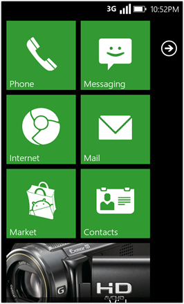 WP7.0.3 Ace Edition -  Screenshot from HTC Desire HD - Green stock accent