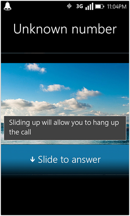 WP7.0.3 Ace Edition -  Screenshot from HTC Desire HD - Slide to answer call