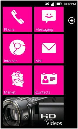 WP7.0.3 Ace Edition -  Screenshot from HTC Desire HD - Magenta stock accent