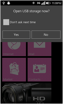 WP7.0.3 Ace Edition -  Screenshot from HTC Desire HD - Open USB Storage