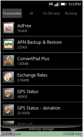 WP7.0.3 Ace Edition -  Screenshot from HTC Desire HD - Downloaded apps