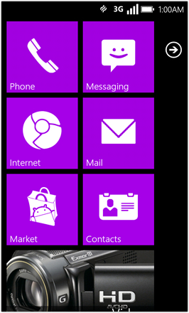 WP7.0.3 Ace Edition -  Screenshot from HTC Desire HD - Purple stock accent