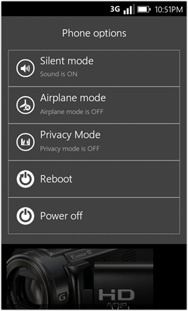 WP7.0.3 Ace Edition -  Screenshot from HTC Desire HD - Phone options