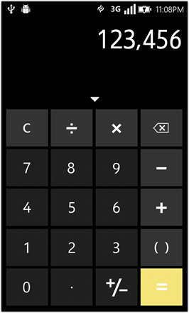 WP7.0.3 Ace Edition -  Screenshot from HTC Desire HD - Calculator