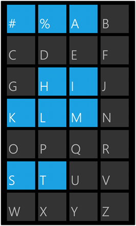WP7.0.3 Ace Edition -  Screenshot from HTC Desire HD - Search app by alphabet