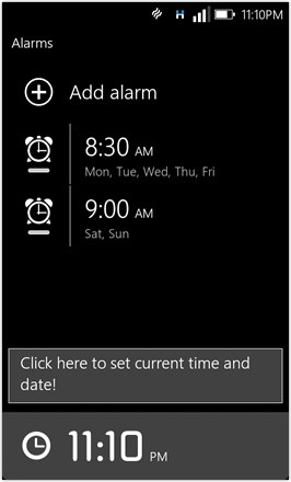 WP7.0.3 Ace Edition -  Screenshot from HTC Desire HD - Alarms