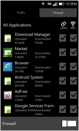 WP7.0.3 Ace Edition -  Screenshot from HTC Desire HD - Firewall