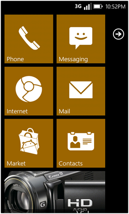 WP7.0.3 Ace Edition -  Screenshot from HTC Desire HD - Brown stock accent