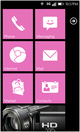 WP7.0.3 Ace Edition -  Screenshot from HTC Desire HD - Pink stock accent