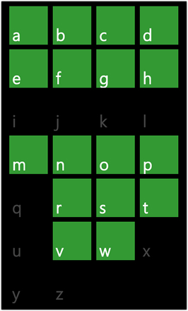 WP7.0.3 Ace Edition -  Screenshot from HTC Desire HD - Search by alphabet - green stock accent