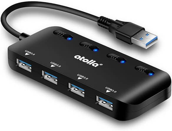 USB hub with physical switches and lights