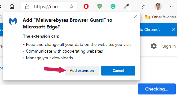 Add Browser Guard extension to Microsoft Edge