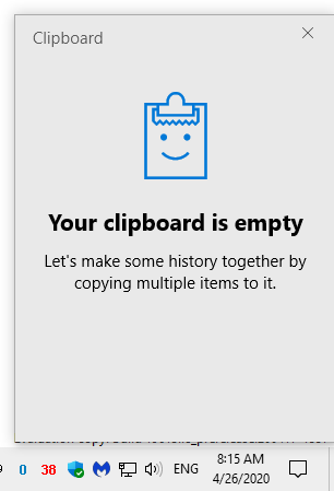 Your clipboard is empty (How to use the Clipboard)