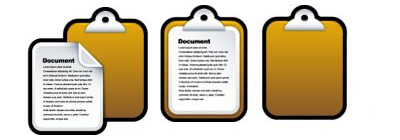 clipboards with pasted file