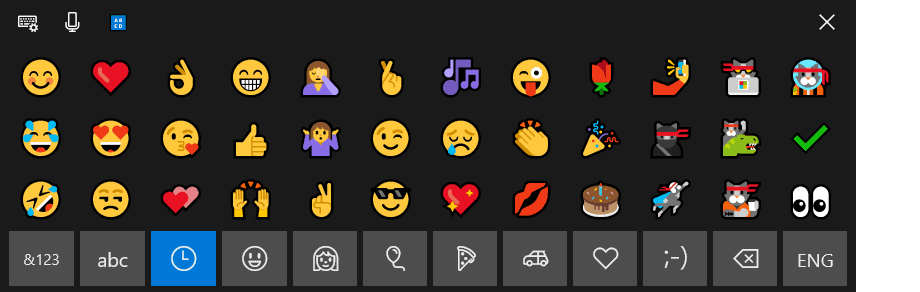 Windows 10 emoji panel