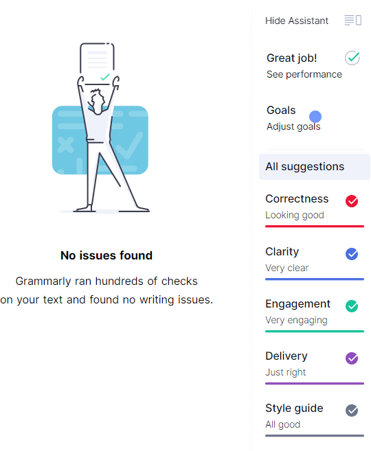 Grammarly summary No issues found