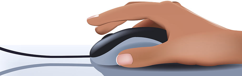 female hand on computer mouse (illustration)