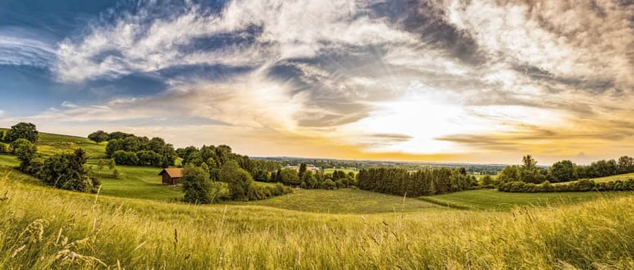 A peaceful view of the countryside and horizon