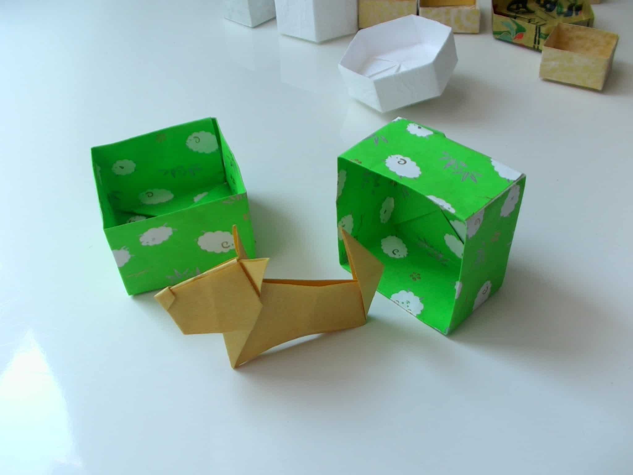 Origami dog and box