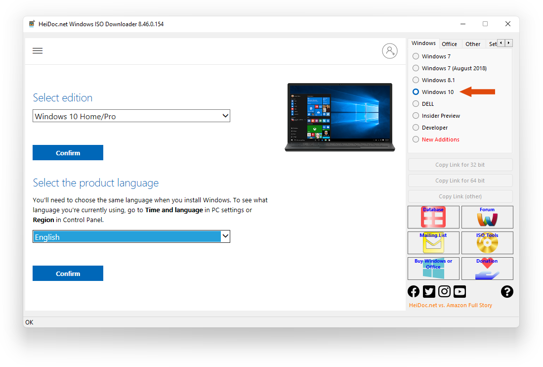 Windows ISO Downloader - Select edition and language