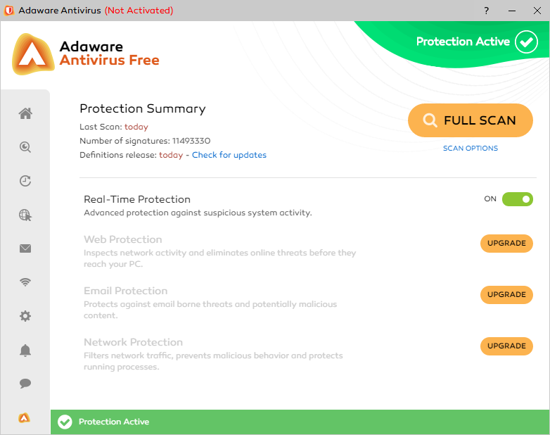 Adaware Antivirus Free - Home screen - Free security apps for Windows