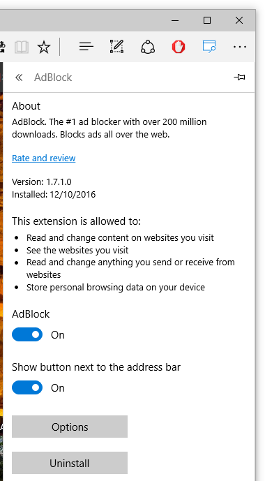 AdBlock options - Turn on / Show button next to address bar
