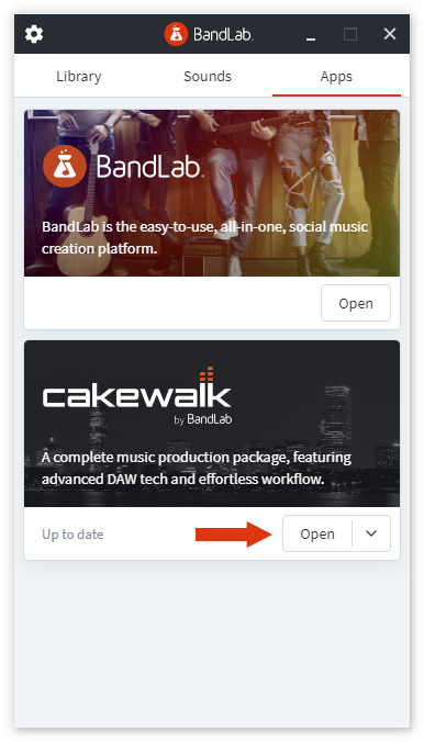 BandLab Assistant - Click open to start Cakewalk