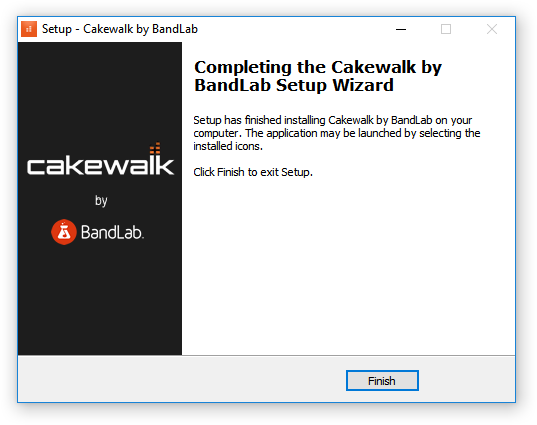 Completing Cakewalk by BandLab Setup Wizard