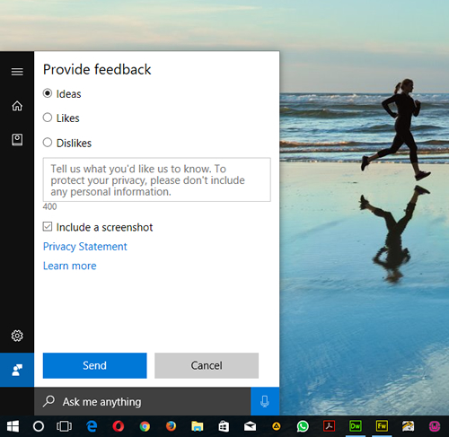 Cortana - Provide feedback tab