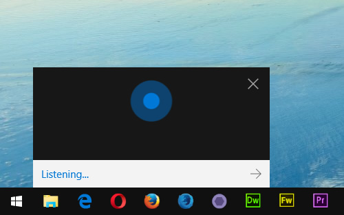 Cortana on desktop in listening mode: Press keyboard shortcut Windows + Shift + C
