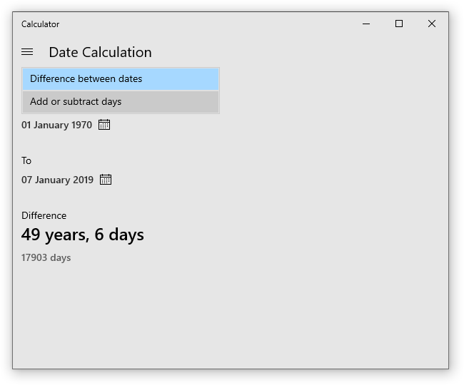 Date Calculation in Windows 10 Calculator