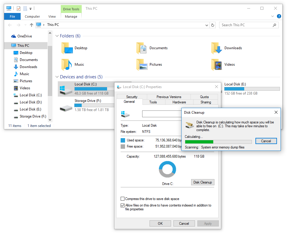 Disk Cleanup - Calculating disk space
