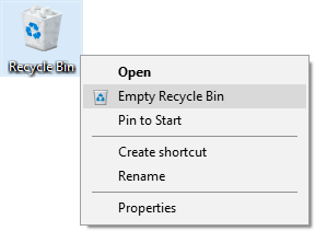 Recycle Bin right-click menu - Empty Recycle Bin