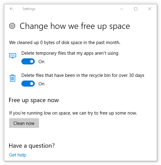 Change how we free up space options