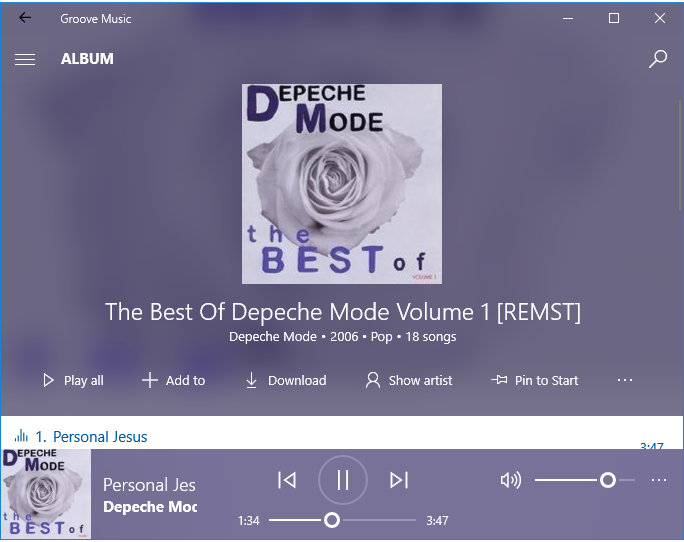 Groove Music - Audio players for Windows