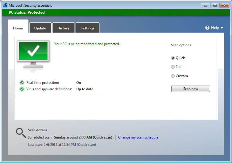 Microsoft Security Essentials free security - Home tab