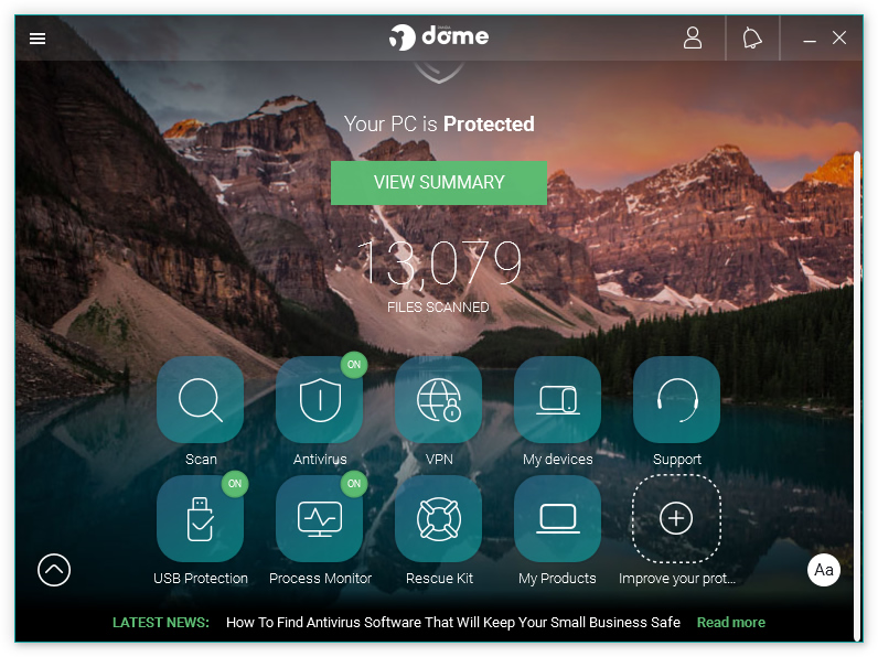 Panda Dome (Panda Free Antivirus) - Main screen - Free security apps for Windows