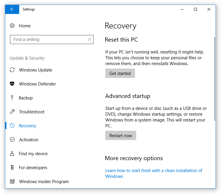 Windows Recovery - Windows 10 maintenance