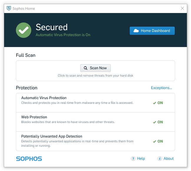 Sophos Home - Main screen - Free security apps for Windows