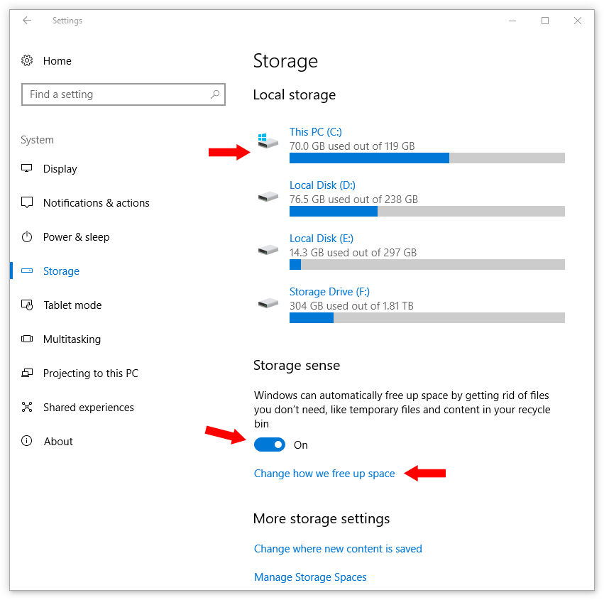 Storage screen - Local storage (in Windows 10 Creators Update)