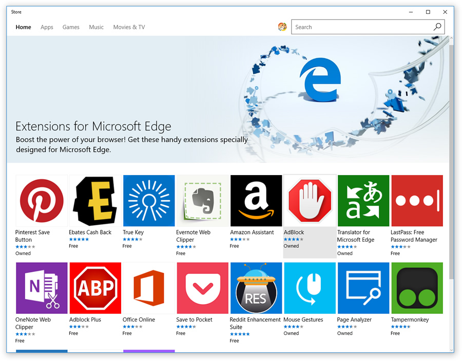 Extensions for Microsoft Edge in the Store