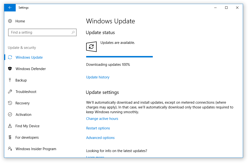 Windows Update status screen