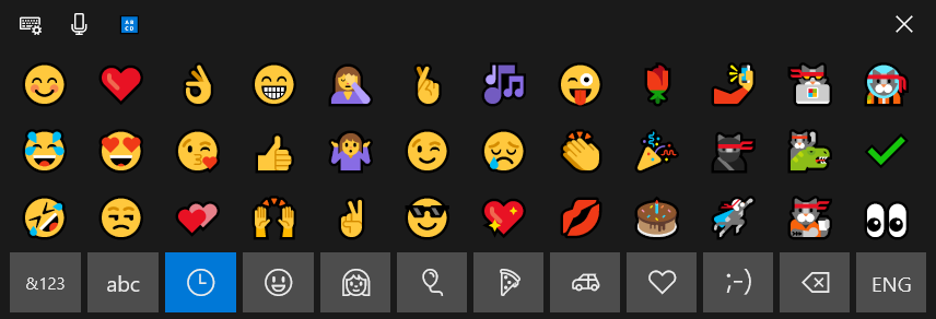 Windows 10 Touch keyboard Emoji