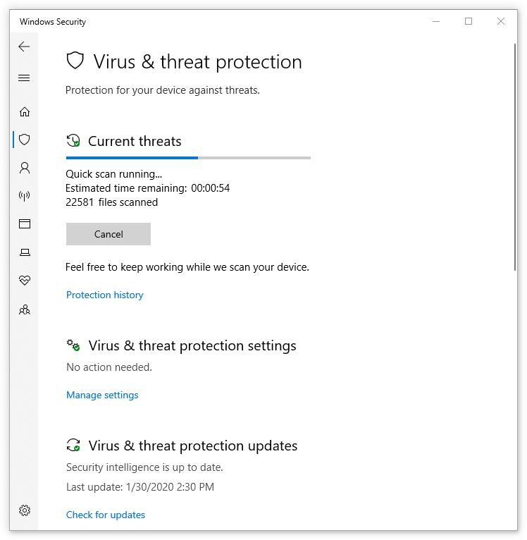 Windows Security - Virus and threat protection