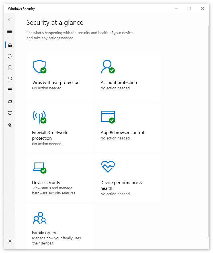Windows Security - Security at a glance