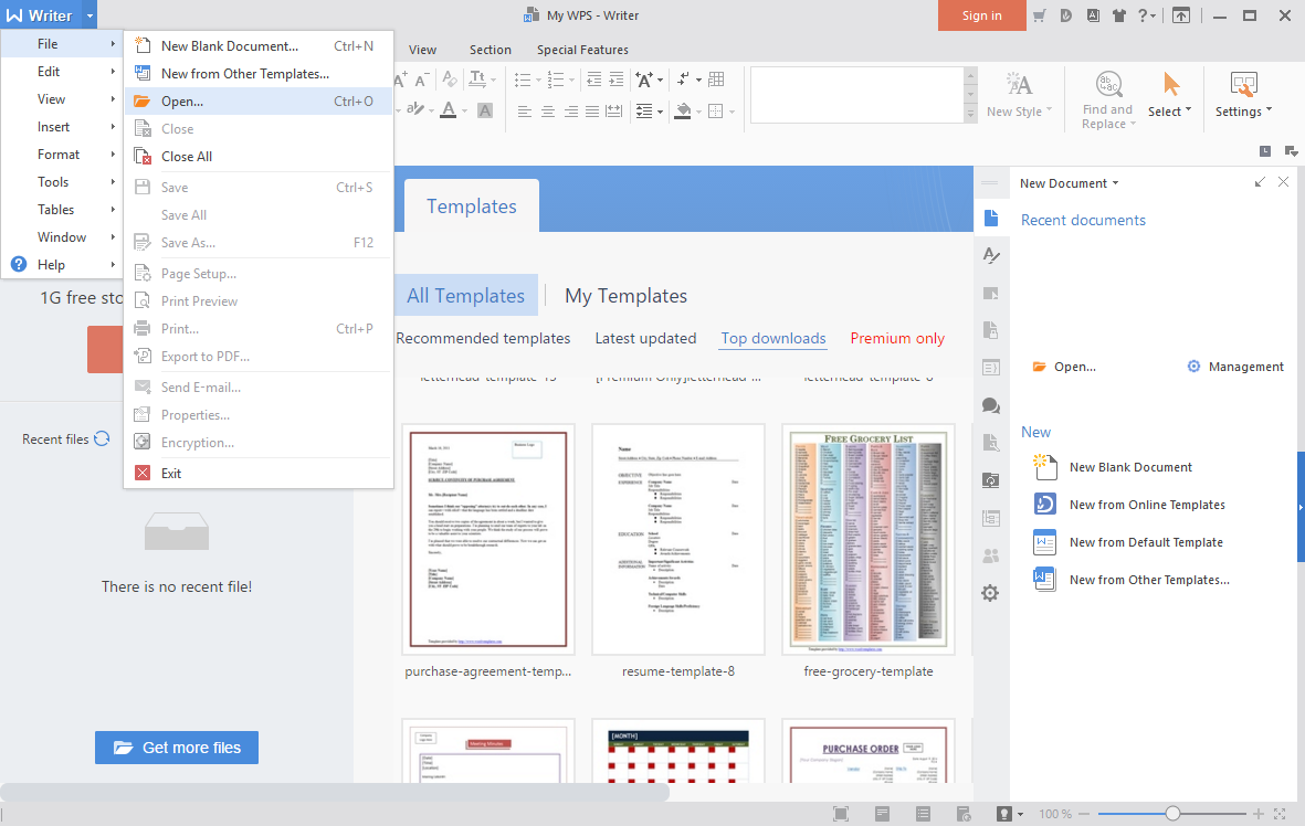 WPS Office 2016 Free - Writer