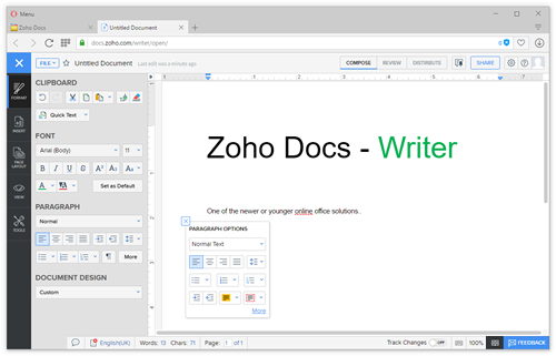 Zoho Docs - Writer - free online office suite - thumbnail